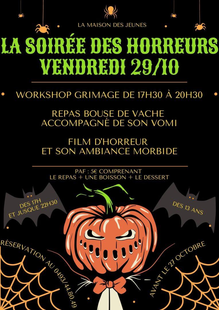 Accueil Halloween le 29/10 de 17h à 22h30