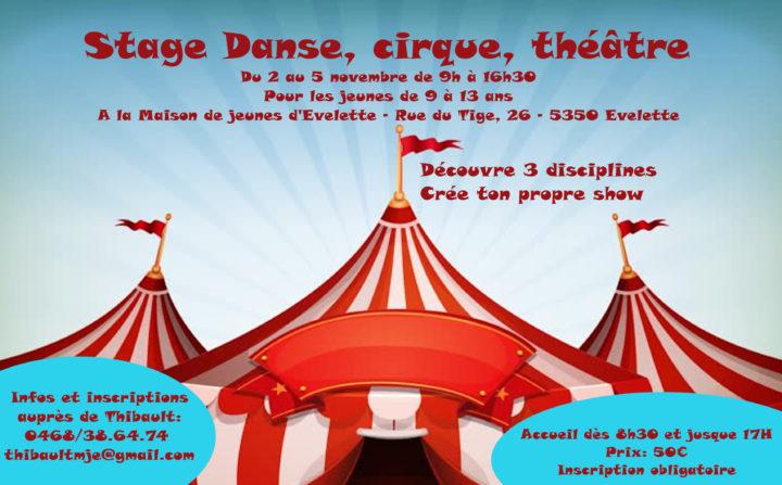 Stage danse, cirque, théâtre: Du 2 au 5 novembre
